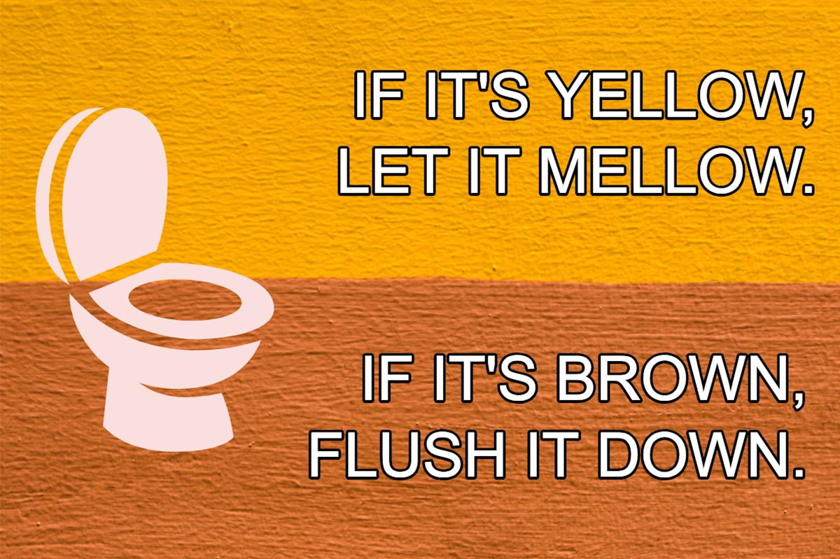 If It's Yellow, Let It Mellow. If It's Brown, Flush It Down.